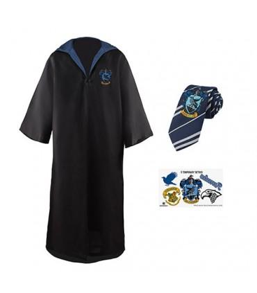 Pack disfraz Ravenclaw: Túnica + Corbata + 5 pegatinas Harry Potter