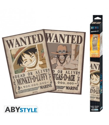 Set 2 posters one piece wanted luffy & ace 52x35.